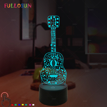 3D Lights Electric Guitar Night Lamp Illusion 7 Color Changing LED USB Sensor Desk Table for Kids Toy Gift