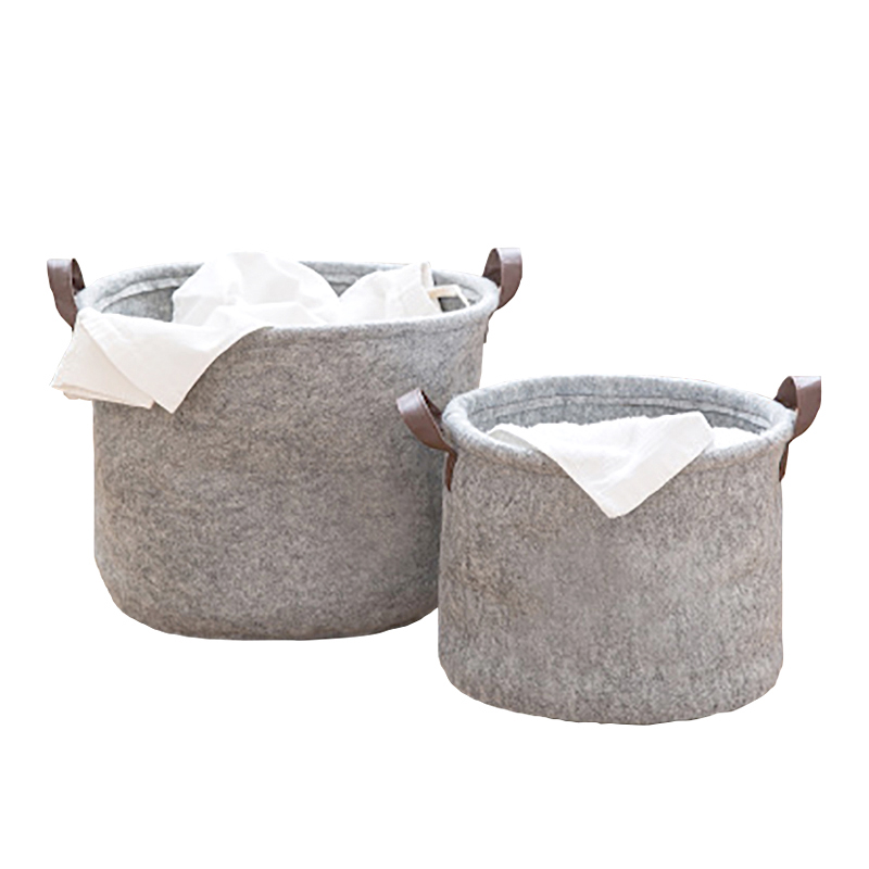 Felt Material Cylinder Sundries Collect Storage Basket Lightweight and Sturdy for Clothes Sundry Toy Towel and Toilet use