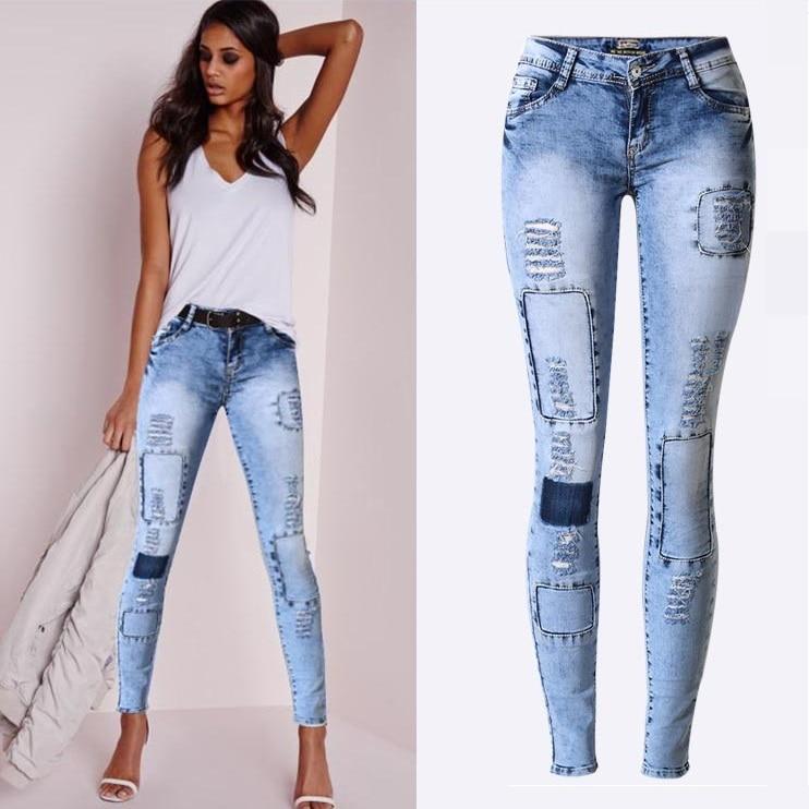 New Fashion Ladies Blue Ripped Jeans Wom