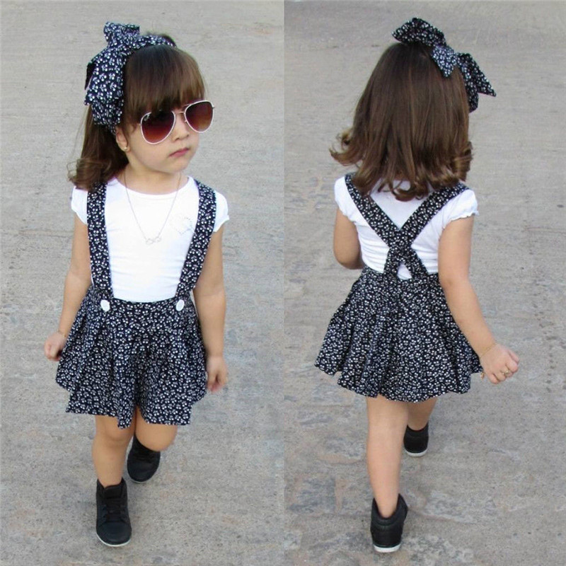 c7eb81ab PUDCOCO Newest Newborn Toddler Baby Girl Sets Short Sleeve casual White T- shirt+Suspender