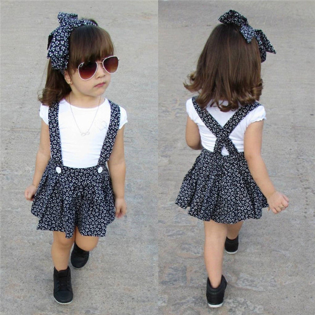 PUDCOCO Newest Newborn Toddler Baby Girl Sets Short Sleeve casual White T-shirt+Suspender Skirt Overalls Headband Outfits Set