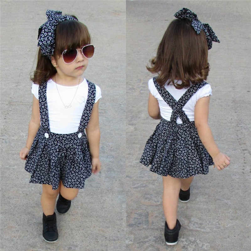 PUDCOCO/Новейшая Одежда для новорожденных девочек Повседневная футболка с короткими рукавами + юбка-комбинезон платья для беременных комплекты одежды с повязкой на голову От 1 до 5 лет