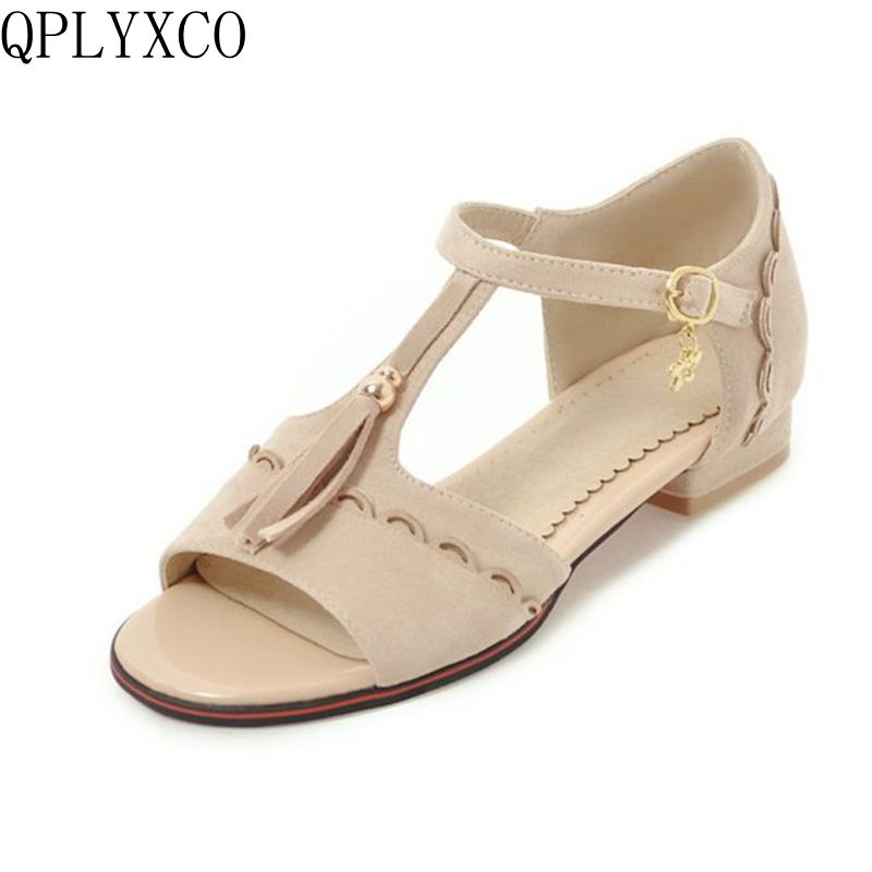 QPLYXCO New sweet sale Big and Small Size 28-52 Peep Toe Ankle Strap Sandals Summer Platform Ladies Shoes Woman Sandal Y40 qplyxco 2017 sale big