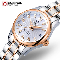 Carnaval suíça safira mecânica relógio feminino marca de luxo couro genuíno à prova dwaterproof água relógios reloj bayan kol saati