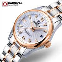 Carnevale svizzera zaffiro meccanico delle donne della vigilanza di marca di lusso del cuoio genuino orologi impermeabili delle donne reloj bayan kol saati
