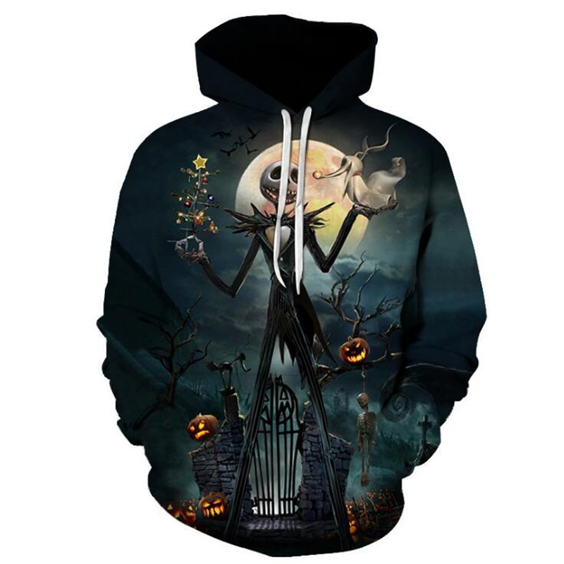 Nightmare Before Christmas Skellington Jack Pumpkin King Cosplay Costume pring Autumn Fashion Cool Hoodies Tracksuit Free shipp