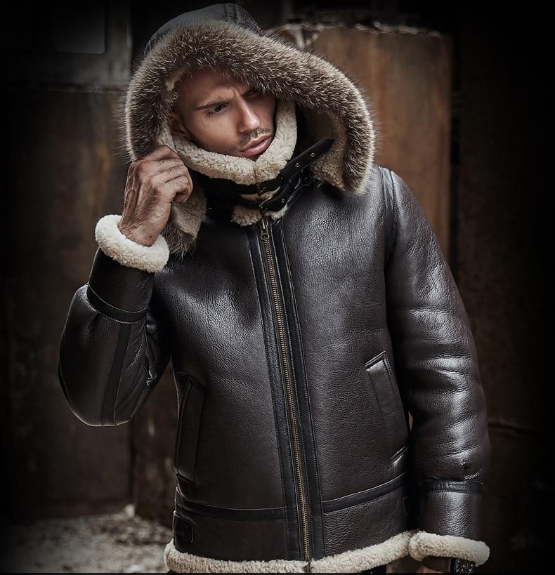 HTB1HBdRaliE3KVjSZFMq6zQhVXa7 men genuine leather jacket man real original ecological sheepskin coat raccoon fur detachable hood winter jackets short design