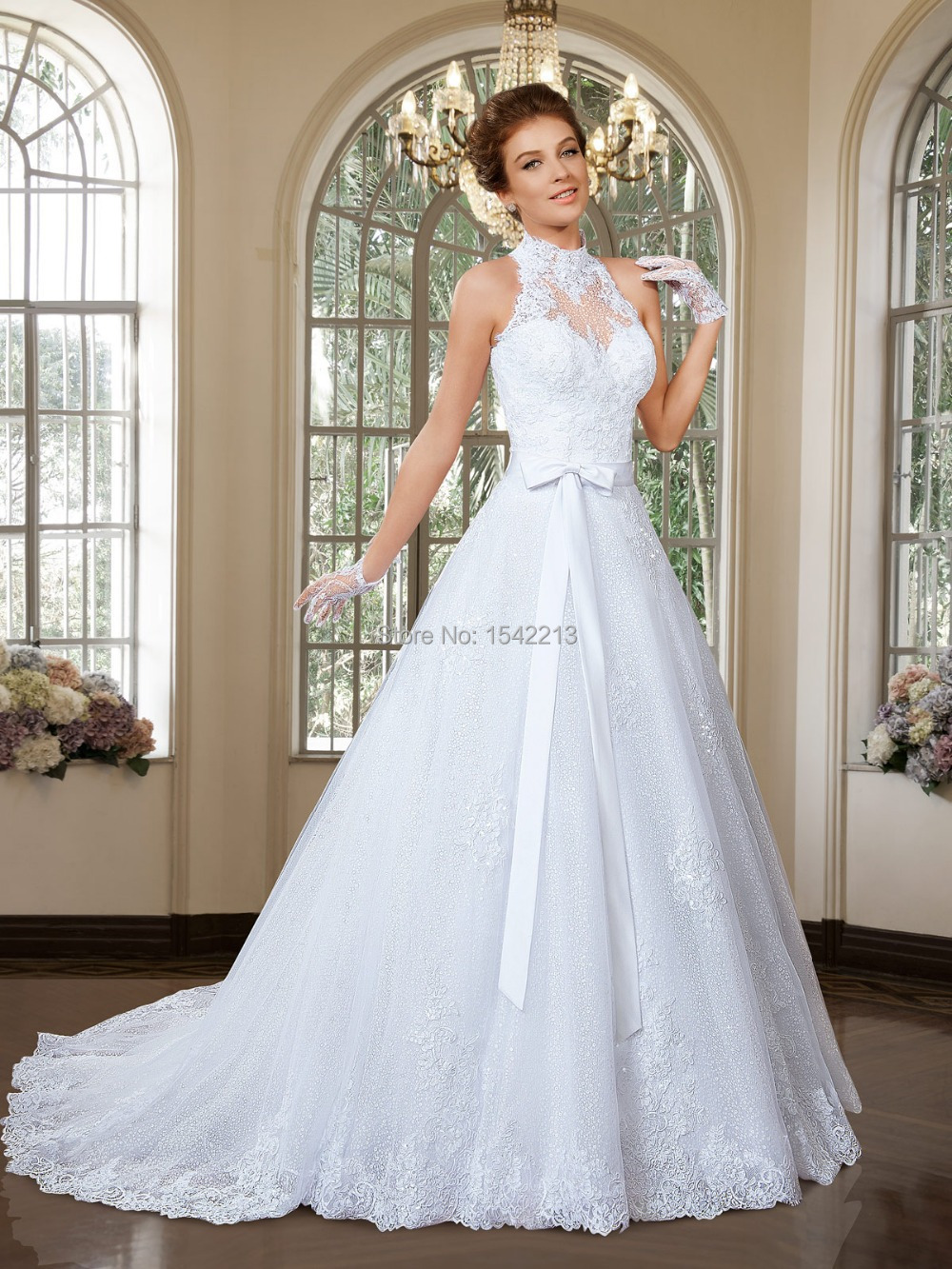 Two Styles Wedding Dresses High Neck Lace Organza Bridal Gown ...