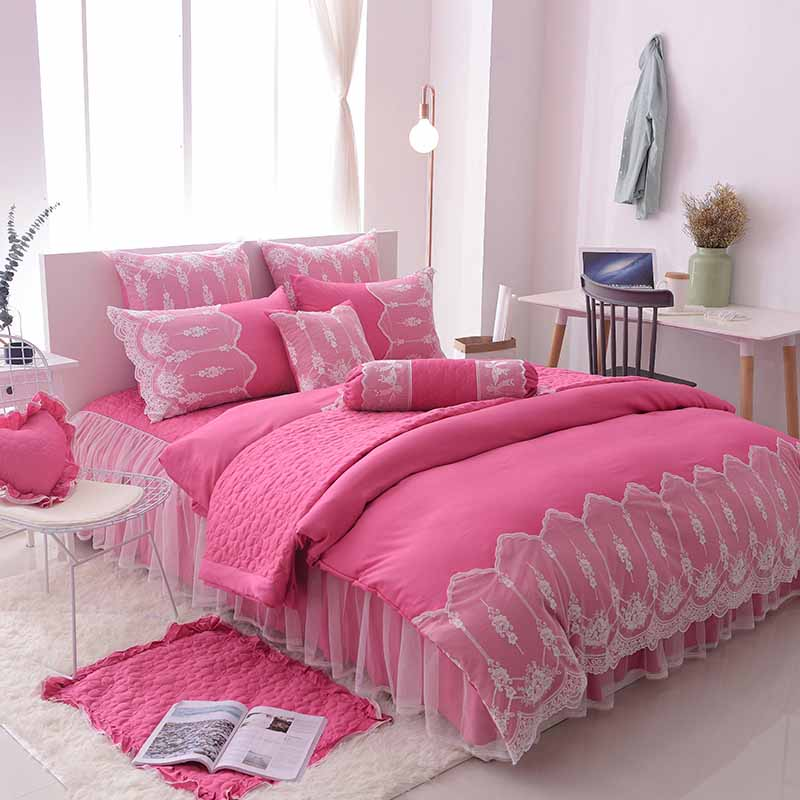 Princess 4/7 pcs Lace luxury Bed Skirt Set Bedding Sets Wedding Cotton Bed Sheets Duvet Cover Set Bedspreads AS GIFTPrincess 4/7 pcs Lace luxury Bed Skirt Set Bedding Sets Wedding Cotton Bed Sheets Duvet Cover Set Bedspreads AS GIFT