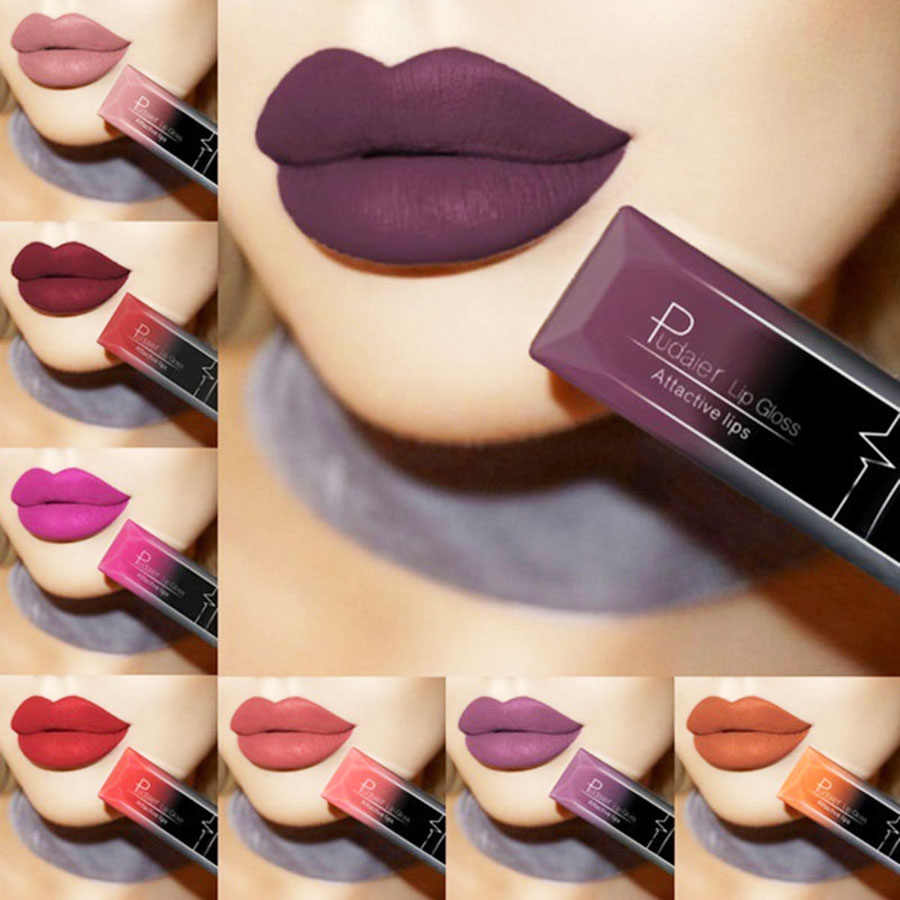 PUDAIER Waterproof Nude Matte Velvet Glossy Lip Gloss Lipstick Lip Balm Sexy Red Lip Tint 21 Colors Women Fashion Makeup Gift