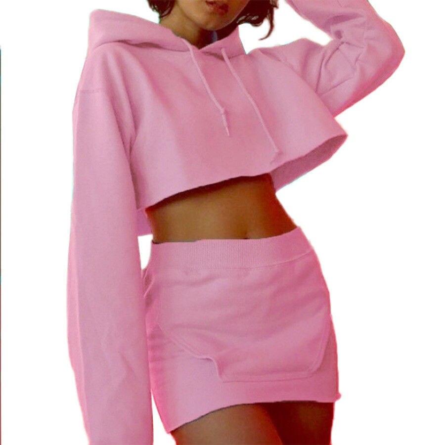 2 StÜcke Frauen Hoodie Langarm Pullover Crop Tops Tasche Bleistiftrock Kleid Set Verschiedene Stile