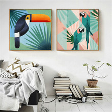 HAOCHU Classical American Village Pastoral Cartoon Bird Watercolor Porch Mural Decorative Painting Wall Picture Poster HomeDecor цены онлайн