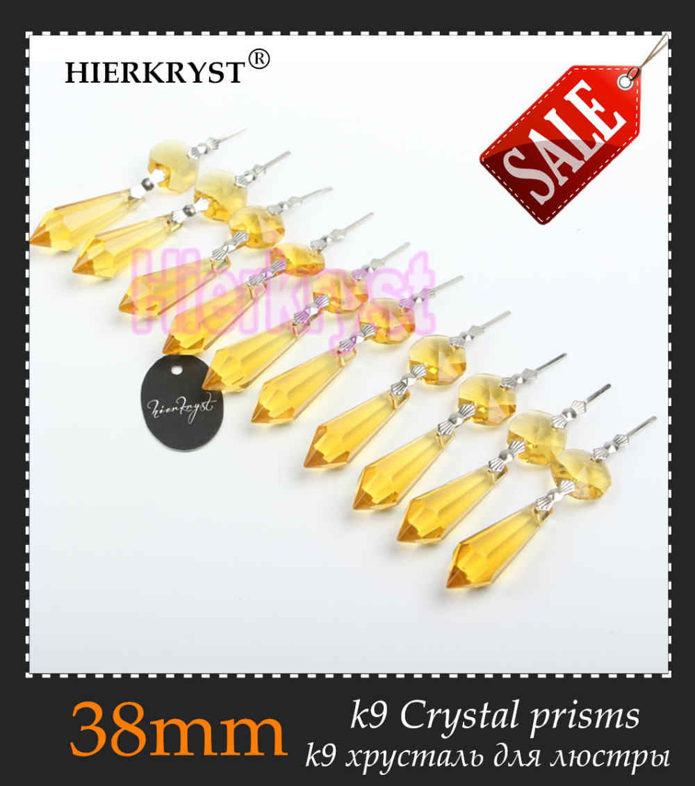 HIERKRYST 10 Pcs/lot Golden Chandelier Glass Crystals Lamp Prisms Parts Icicle Hanging Pendants 38mm 1.49