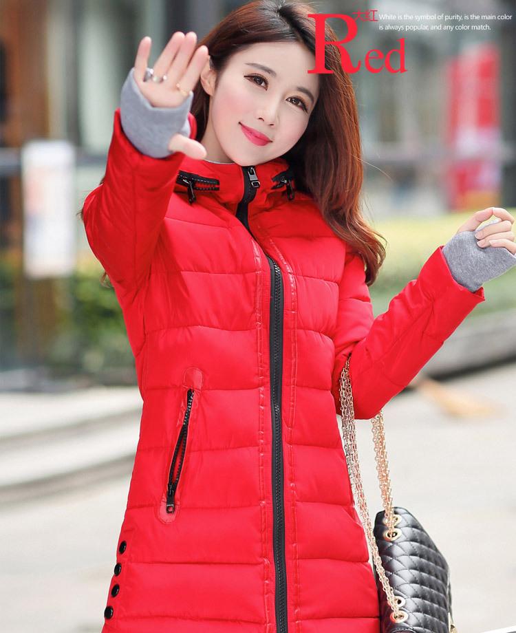 feminina 長期 女性の冬フード付き暖かいコートスリムプラスサイズキャンディーカラー綿パッド入り基本ジャケット女性の中 2019 15