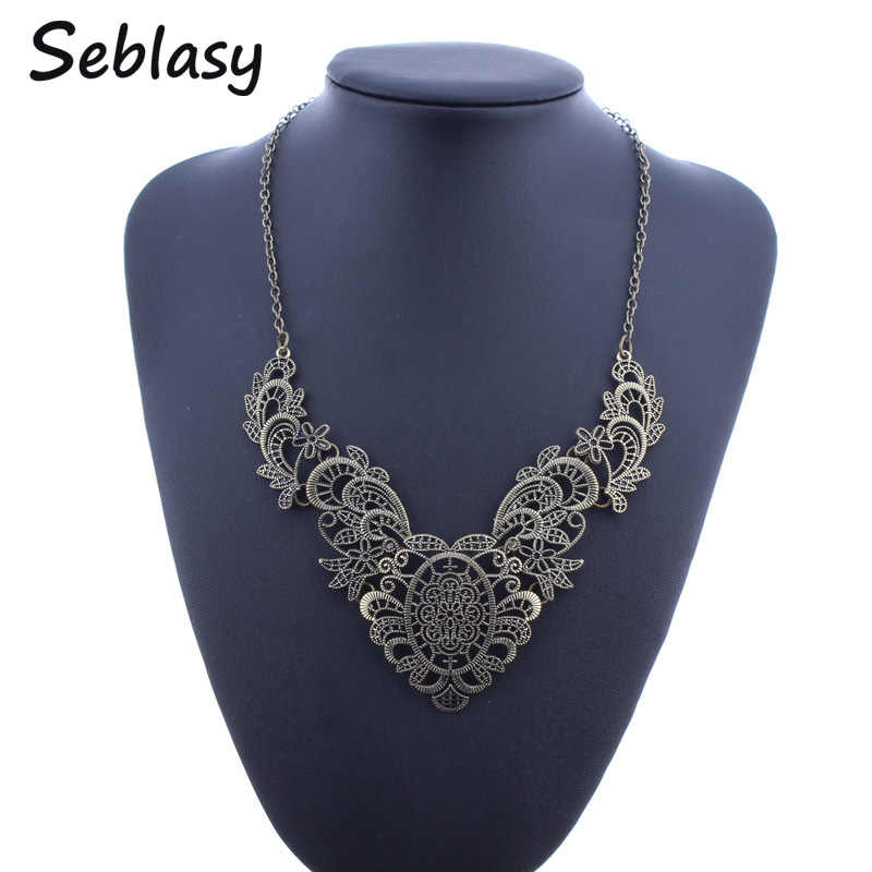Seblasy Vintage Antique Gold Color Tribal Turkish Jewelry Hollowed Alloy Flowers Choker Statement Necklaces & Pendants For Women