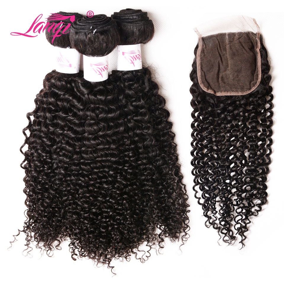Afro Kinky Curly Hair Bundles With Closure Pack LanQi Hair Brazilian Curly Hair 3 Bundles With Closure Non Remy Hair Extensions