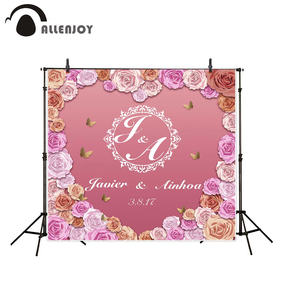цены Allenjoy photography backdrop wedding pink flower custom sweet heart background newborn photobooth photocall customize
