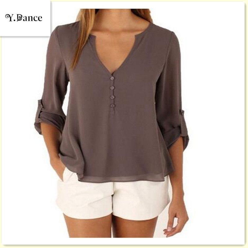 2017Sell like hot cakes Fashion Women deep v neck button long sleeve ladies tops chiffon shirts solid elegant Top casual blouse