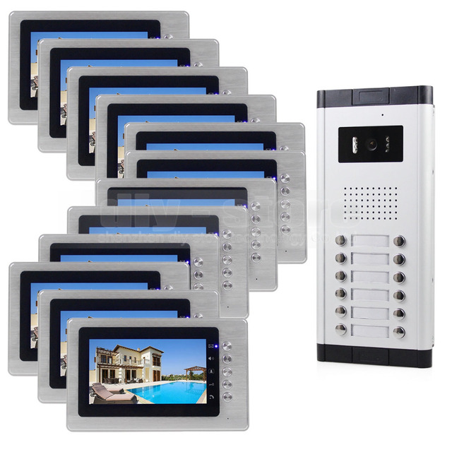 "DIYSECUR 7"" Indoor Monitor Apartment Video Door Phone Doorbell Audio Visual Intercom Entry System IR Camera For 12 Families"