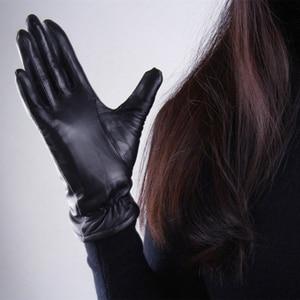 Image 4 - Womens Genuine Leather Gloves Black Sheepskin Finger Driving Gloves Spring Autumn Thin Velvet Lined Warm Fashion Mittens TB13