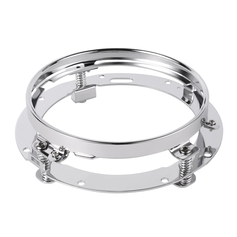 7 Inch Stainless Steel Round LED Headlight Mounting Bracket Ring For Built-in Strong Springs Chrome Plated