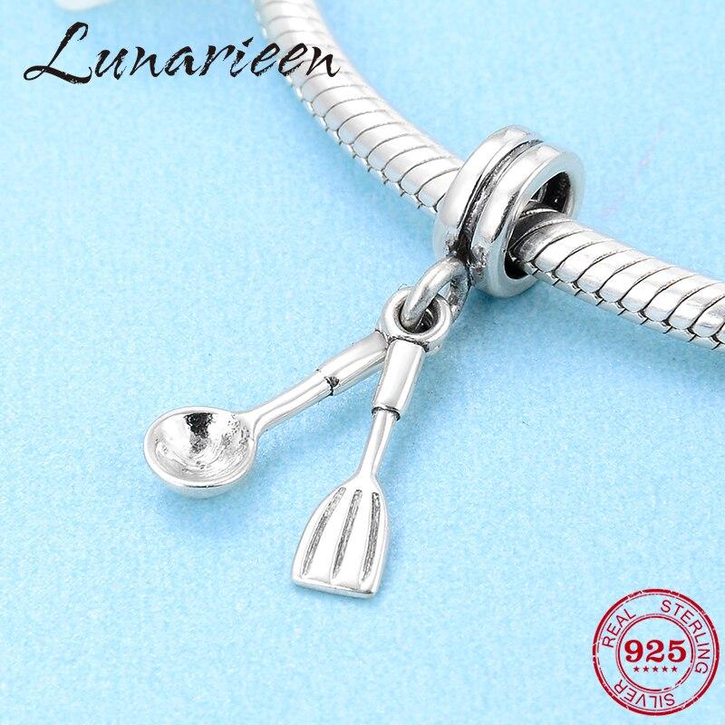 Hot 925 Sterling Silver Pancake Turner And Spoon Fine Pendants Charms Fit Original Pandora Charm Bracelet Jewelry Making