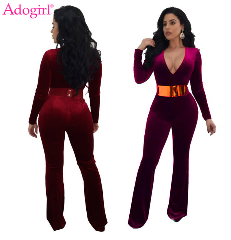 Adogirl Plus Size Women Velvet Jumpsuits Sexy Deep V Neck Long Sleeve Slim Fashion Rompers Ladies Casual Clothing Cheap Overalls