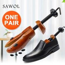 구두 트리 1 쌍 남성과 여성을위한 나무 신발 확장기 신발 너비와 높이 조절 가능한 구두 들것 셰이퍼 랙 sawol