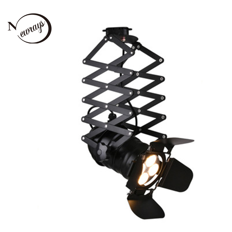 Retro industrial four leaf stretch track light LED E27 track lights for living room restaurant club Exhibition hall hotel lobby|Ceiling Lights| |  - title=