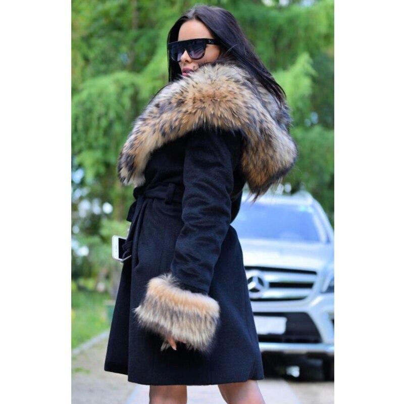 Réel Naturelle 005 D'hiver De Manteau Hood Laine Veste Véritable Avec Capot Laveur Nouveau Raccoon Fourrure Ceinture Outwear 2018 Nz Femmes Raton kuXZPi