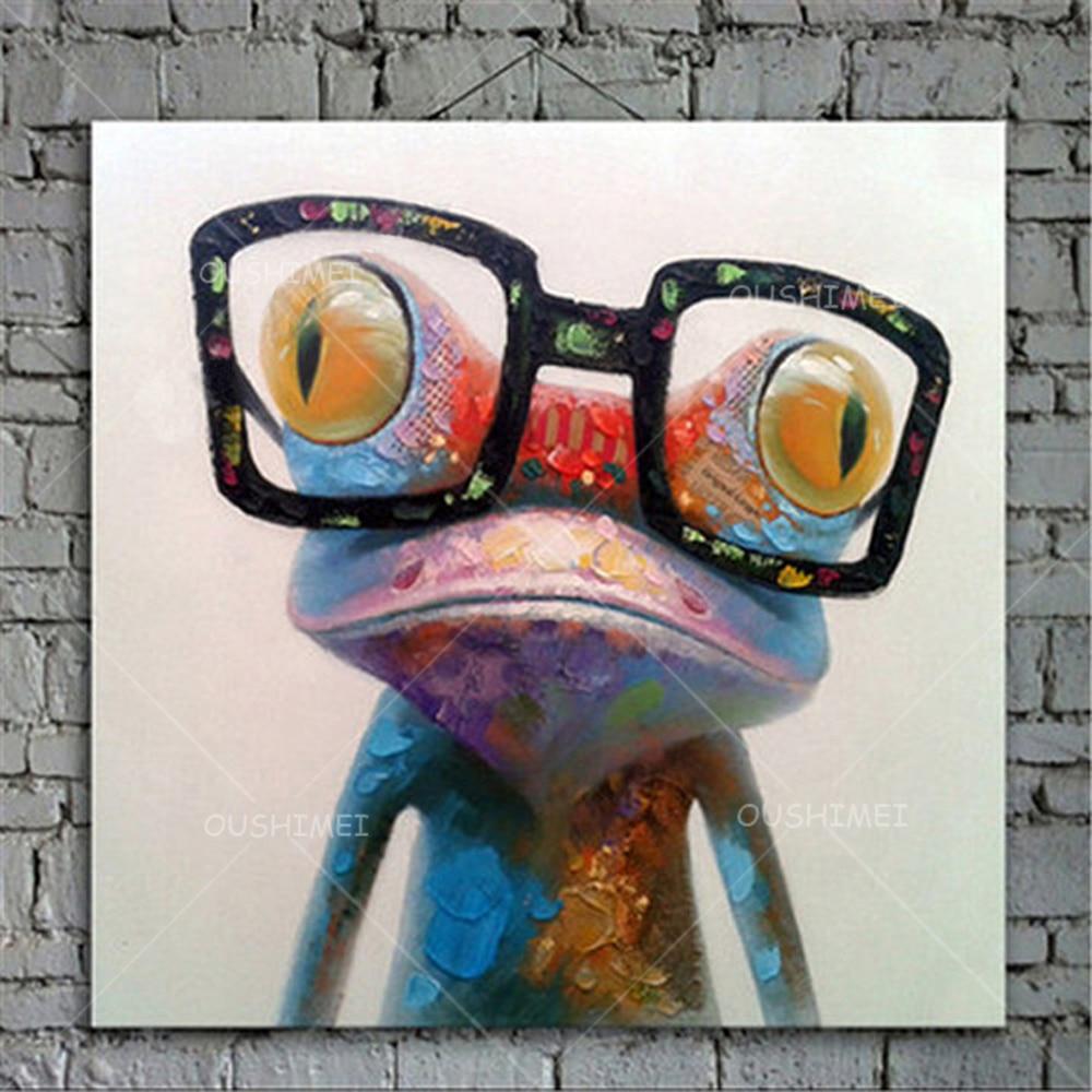 Rajzfilm állat absztrakt olajfestmény Béka szemüveget visel - Lakberendezés - Fénykép 6