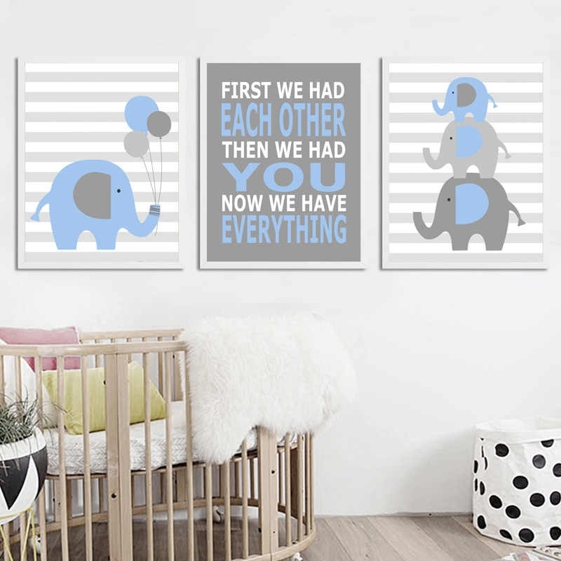 Modern Elephant Nursery Wall Pictures Decor Baby Boy Canvas Art Funny Quote Posters Blue And Gray Prints Painting For Kids Room