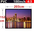 whole sale 100 Inch 4:3 PVC Fabric Matte With 1.1 Gain projection screen Wall Mounted for all 3d led dlp hd mini home projectors
