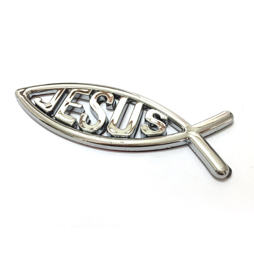 Hot 3d Car Chrome Decal Emblem Sticker Religious God Jesus Christian