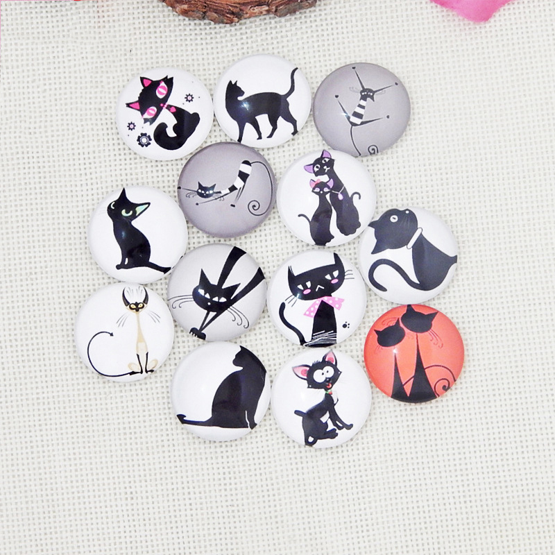 10mm 20mm 25mm Black Cats Round Photo Glass Cabochons Cameo Cartoon Mixed fit Pendant Settings Handmade DIY Jewelry Findings