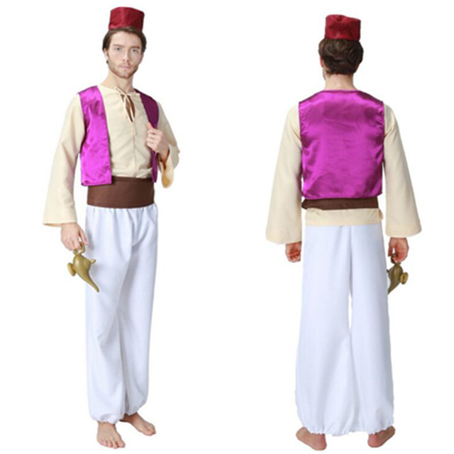 2018 New Adult Aladdin Magic L& Prince Aladdin Costumes Purple Vest White Pants Hat Halloween Party  sc 1 st  AliExpress.com & 2018 New Adult Aladdin Magic Lamp Prince Aladdin Costumes Purple ...