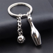 1 piece Silver Tone Dark Gray Bowling Pin Ball Pendant Keychain Keyring Key Chains(China)
