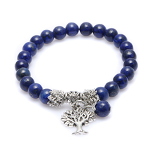 Newest Women Men Yogi Bracelets Natural Lapis Stone Yoga Mala Prayer Rosary Beads Healing Reiki Tree of Life Charm Pendant