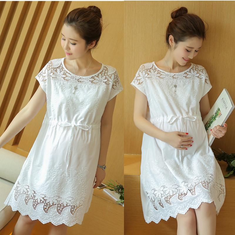 Maternity Dresses Breathable Summer Hollow Cotton