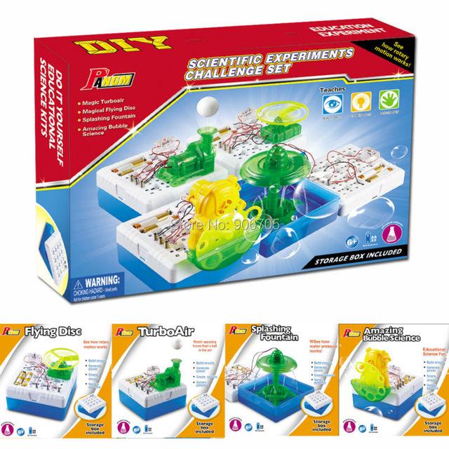 Kits de ciência DIY educacional 4 experimentos científicos desafio conjunto de Disco Voador/Fonte Salpicos/TurboAir/Incrível brinquedos Da Bolha