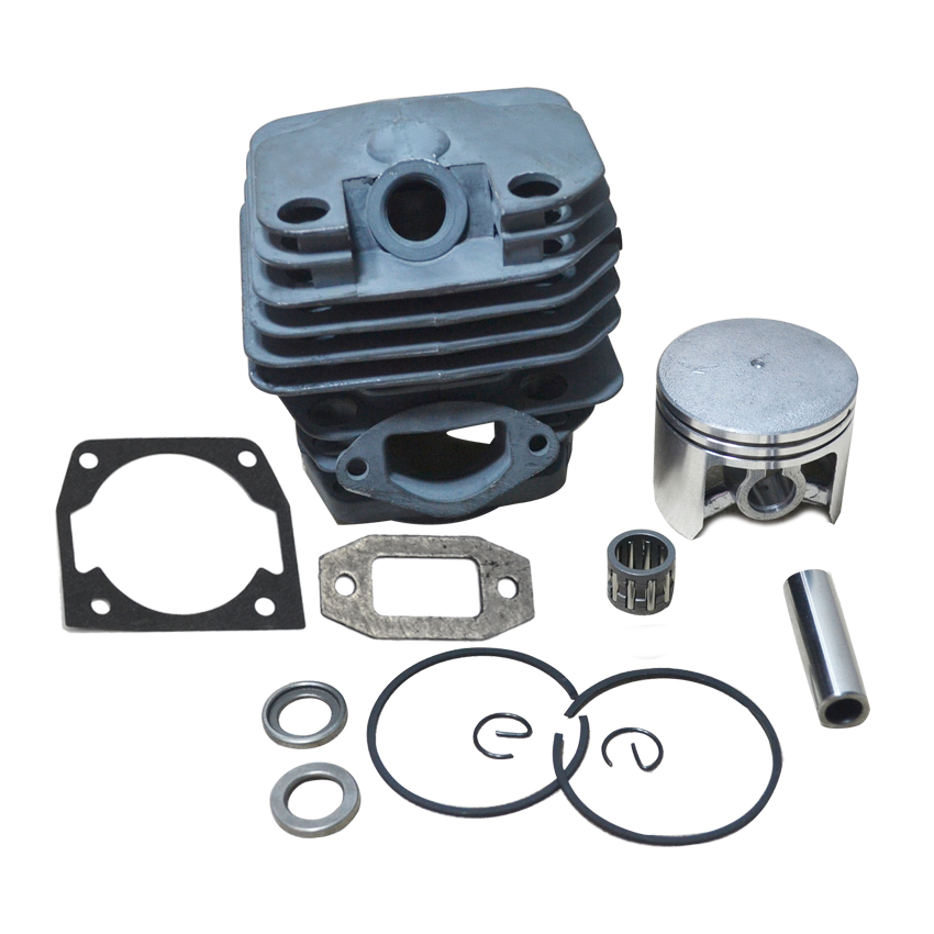 Cylider Bore 45MM 52CC 5200 Chinese Gasoline Chainsaw Cylinder Piston Kit with Muffler & Cylinder Gasket and Needle Bearing  45 2mm cylinder piston gasket assy chinese 5800 58cc chainsaw engine rebuilt kit