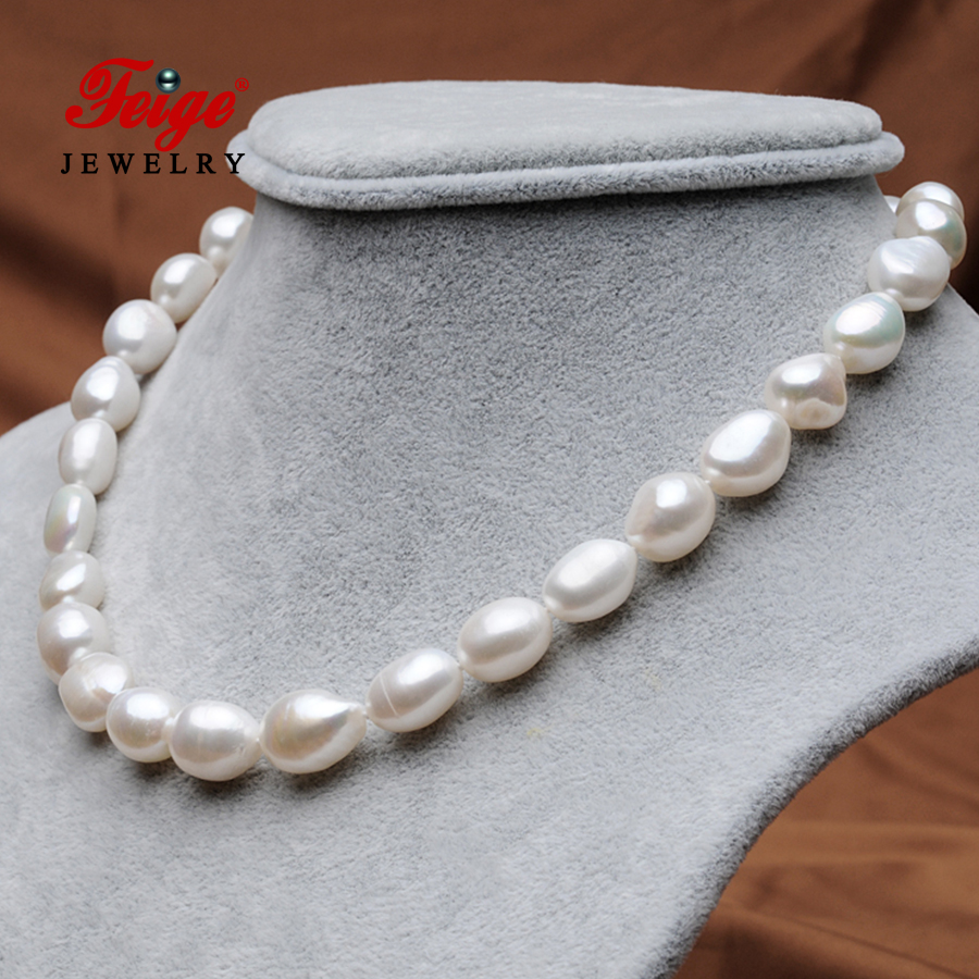 Hyperbole Freshwater Pearl Necklace for Women Party Jewelry Gifts 10 11MM White Natural Pearl Chains Necklace Fine Jewelry FEIGE in Necklaces from Jewelry Accessories