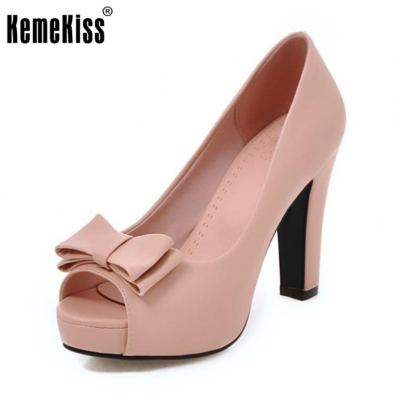 Size 32-43 Fashion Ladies High Heel Shoes Women Peep Toe Platform Pumps Sexy Office Wedding  Bowtie Quality Slip On Shoes 8colors fashion night club shoes high heel red bottom 18cm sexy slip on women platform shoes round toes size eu35 44 a18