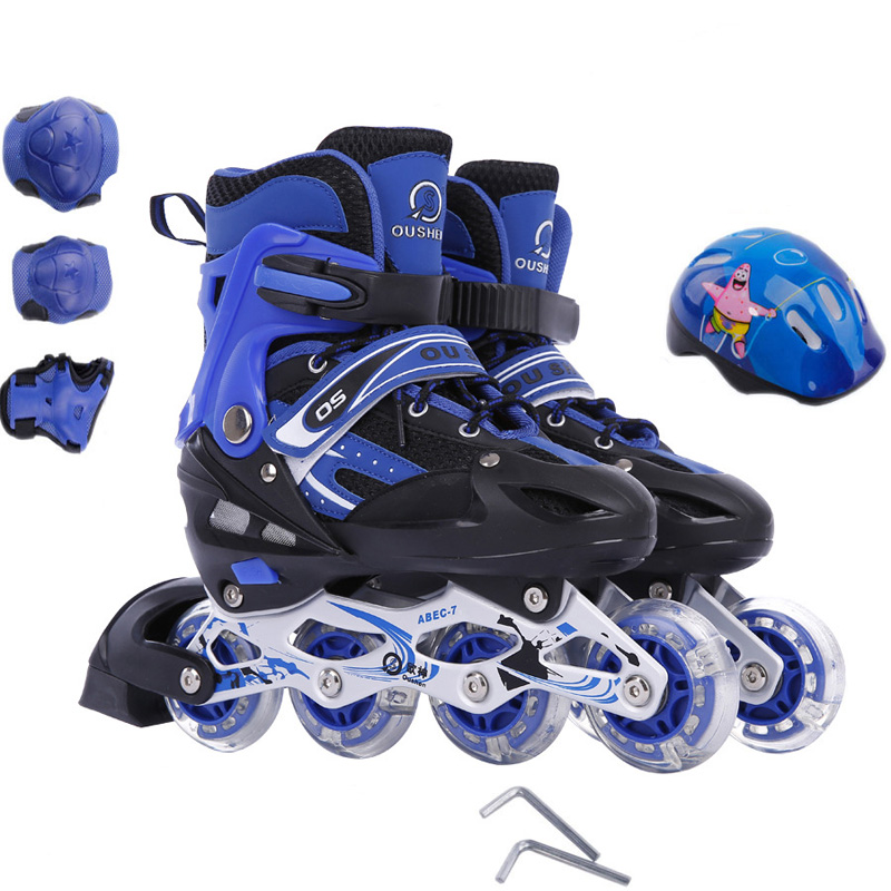 9 In 1 Adult Children Inline Skate Roller Skating Shoes Helmet Knee Protector Gear Adjustable Washable PVC Hard Flashing Wheels new kids children professional inline skates skating shoes adjustable washable flash wheels sets helmet protector knee pads gear
