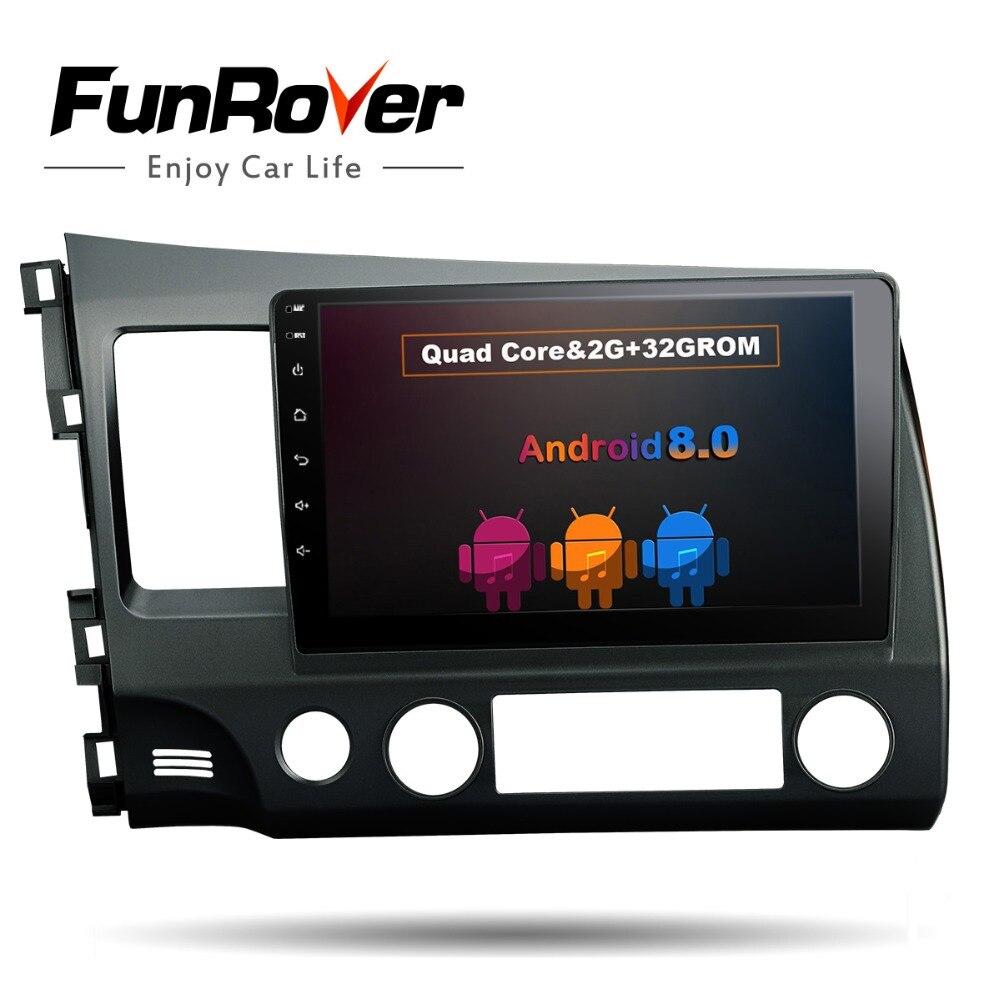 FUNROVER Android 8.0 2 din For honda CIVIC 2006 2011 Car DVD Navigation GPS HD Radio wifi obd2 MP3 playper rds video glonass usb