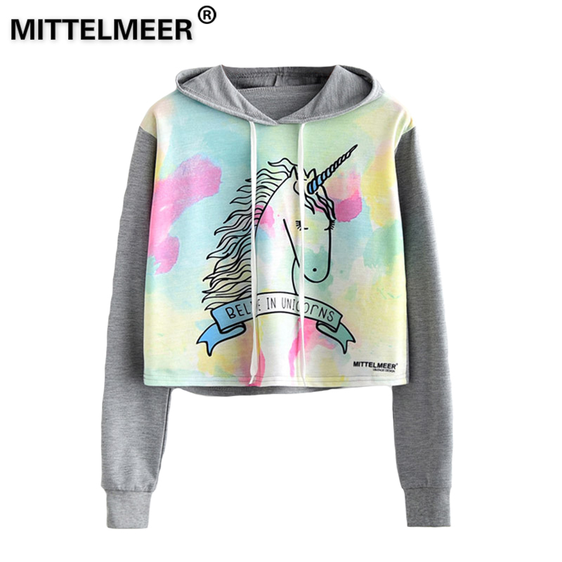 MITTELMEER 2018 bts Harajuku Hooded Sweatshirt Woman girls student Cartoon unicorn cat Animal fruit printing Short Sweatshirt