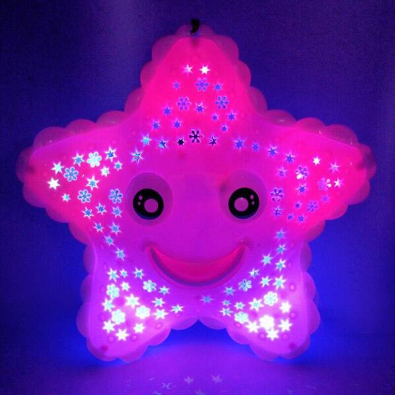 1 Pc Draagbare Flash Muziek Cartoon Kawaii Zeester Sea Turtle Speelgoed Voor Kids Kinderen Projectie Verlichting Kleuterschool Game Gift