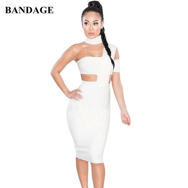 BANDAGE White Black Bandage Dress Summer Women Boutiques One Shoulder Sexy Hollow Out Bodycon Vestidos Club Wear Party Dress