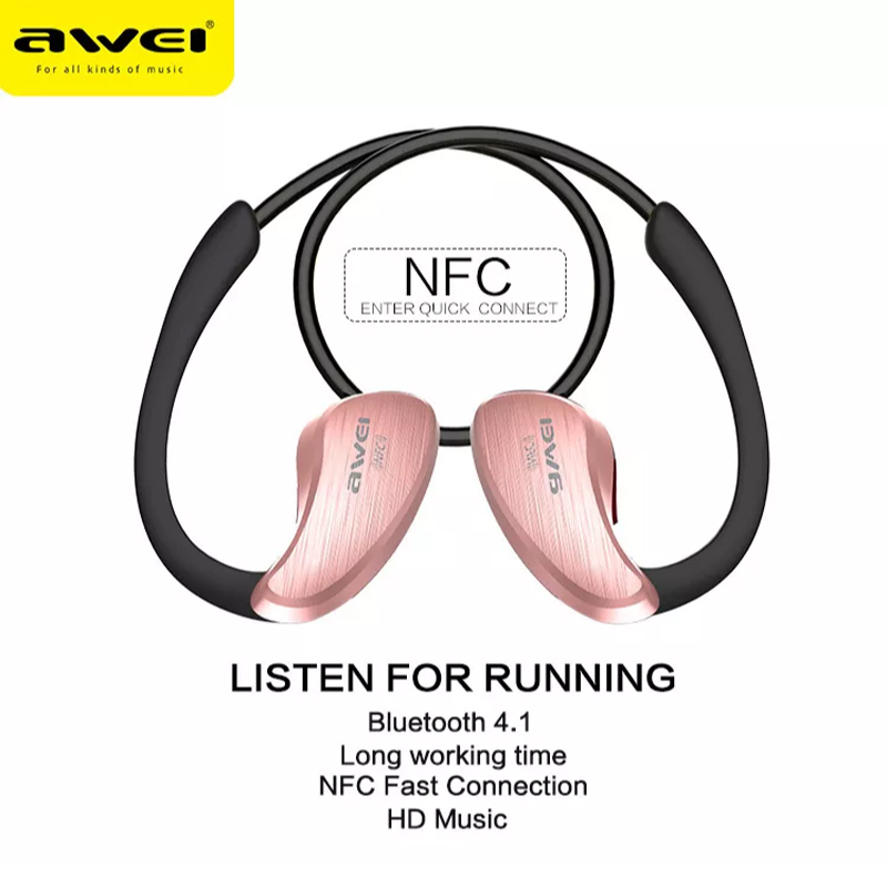 NEW Awei A885BL Bluetooth Earphone Wireless Earphone Waterproof IPX4 HiFi Earphones NFC with Microphone Noise Cancelling in Bluetooth Earphones Headphones from Consumer Electronics