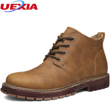 UEXIA New Arrival Basic High-Top Leather Luxury Men Snow Boots Flats Men Boots Warmest male Leather ankle man booty business 11